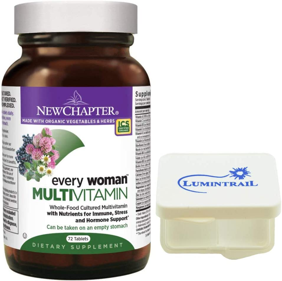 New Chapter Every Woman Multivitamin, Women's Multi with Vitamin D3, Iron, Probiotics - 72 Tablets Bundle with a Lumintrail Pill Case