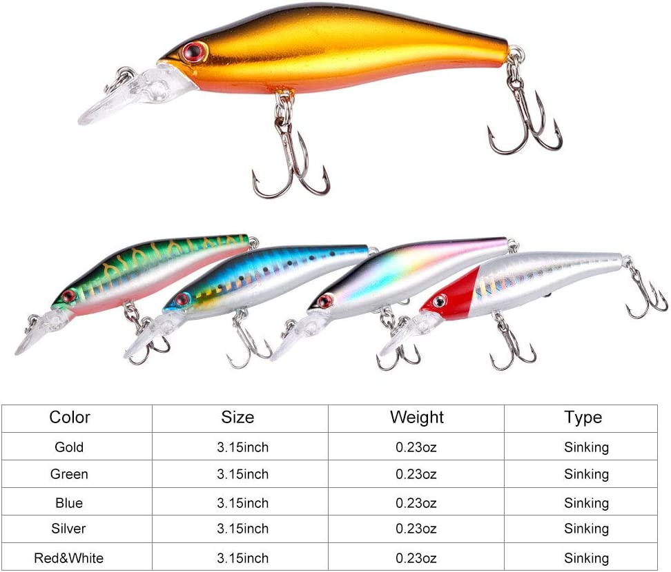 Dr.Fish 5pcs Hard Bait Kit Fishing Plug Lipless Crankbait Minnow Fishing Lure Assortment VIB Lure Saltwater Freshwater Bass Trout Pike Musky