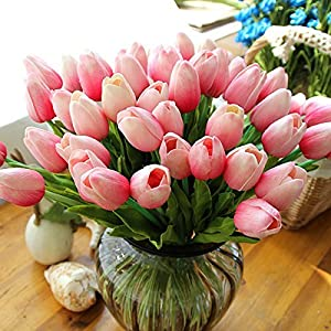 Lorigun 10 Heads Artificial Tulips Real Touch PU Tulips Flowers Arrangement Bouquet Home Room Office Centerpiece Party Wedding Decor Pink 47