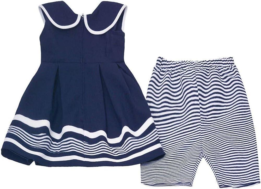 Bonnie Jean Baby Girls Navy White Stripe Ribbon Sailor 2 Pc Pants Outfit 12-24M