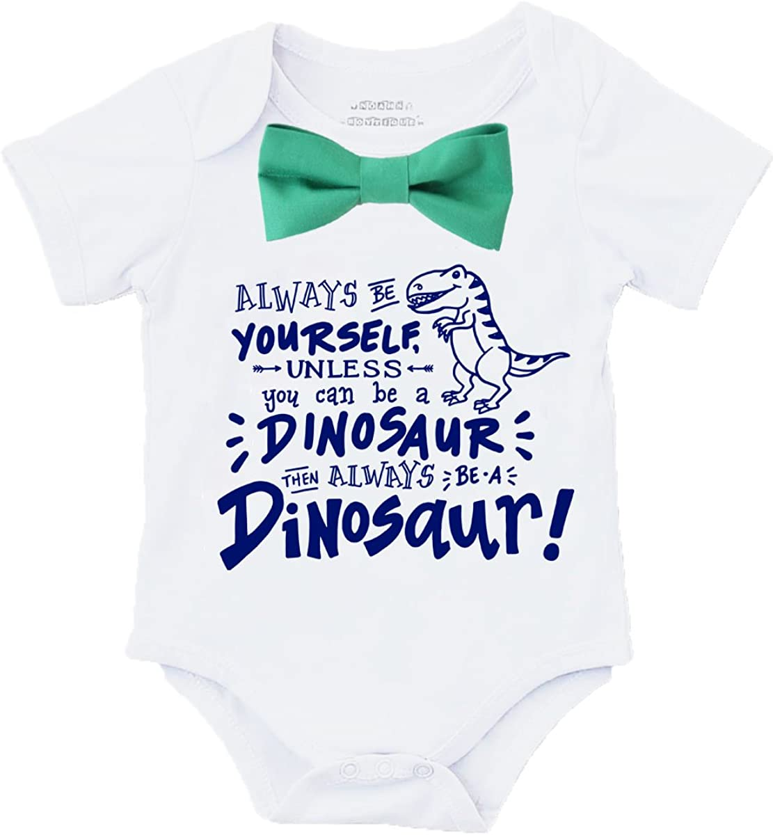 Noah's Boytique Baby Boy Dinosaur Shirt Outfit with Bow Tie