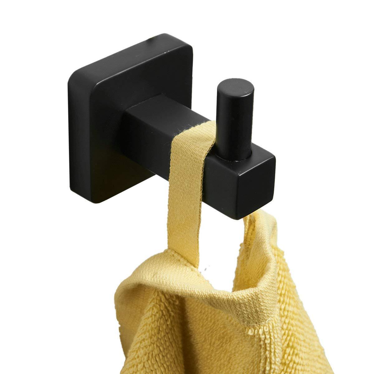 Gancho para toalla de baño 4 piezas de acero inoxidable negro pintura accesorios cocina robot percha leekayer