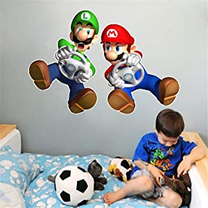 "VAINECHAY Cartoon Mario Wall Stickers DIY Children Mural Decals for Kids Child Rooms Baby Nursery Bedroom Wardrobe Door Decoration (Mario 14.6""x18.5"")"