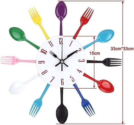 Cubiertos Creativos Reloj De Pared De Cocina con Cuchilla Minute Hand Y Fork Hour Hand para La Decoración del Restaurante De La Cocina Casera, Tamaño 33 * 33 Cm,Multicolor: Amazon.es: Hogar