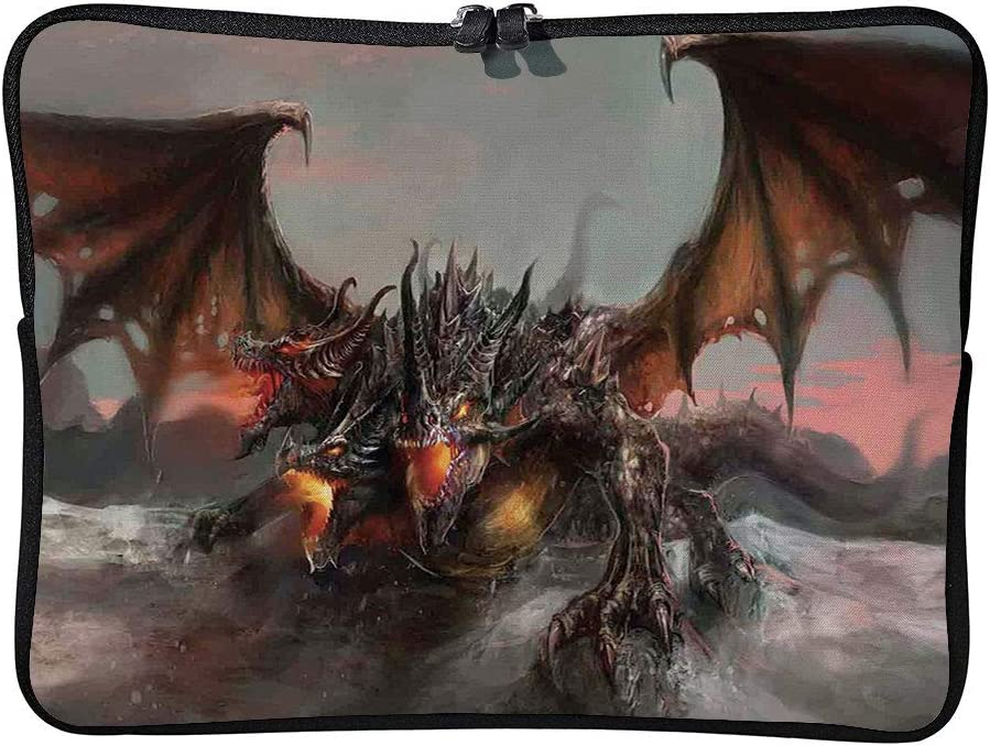 Illustration of 3 Headed Fire Laptop Sleeve Case Neoprene Carrying Bag for Any Tablet//Notebook AM011736 15 inch//15.6 inch C COABALLA Fantasy World