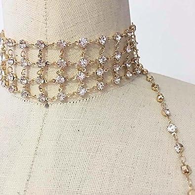 eef170a9611ed Metal bra rhinestone bralette bikini chain with choker gold plate LUSCONE  WB-03GD Clothing