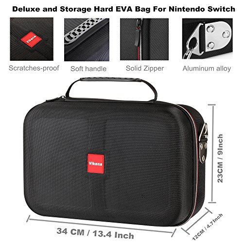 Vikena Deluxe Travel and Storage Case for Nintendo Switch,Game Carrying Case fit for Switch Pro Controller,Switch Console and Accessories,Black