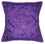 Shubhlaxmifashion Indian - 24'' Purple Mirror Embroidered Decorative Sofa Throw Pillow Cushion Cover Boho Bohemia