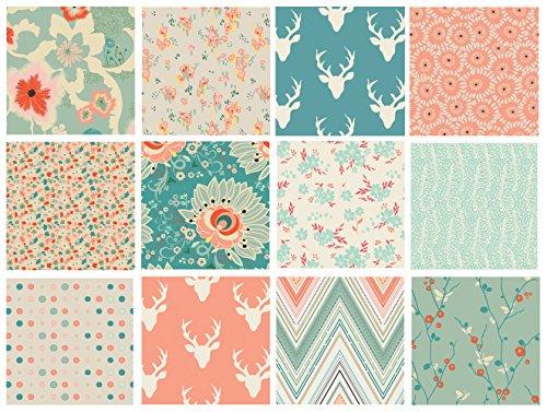 12 FABRIC QUILT BUNDLE - Hello Bear - Rapture - Art Gallery Fabrics - Floral Fabric Bundle with Deer - Modern Nursery Fabrics - Girl's Nursery Fabric - Peach Teal (Fat Quarters)