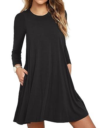 6a2e542caa2 TOPONSKY Women's Plain Long Sleeve Slit Pockets Casual Swing T-Shirt Dresses (S,
