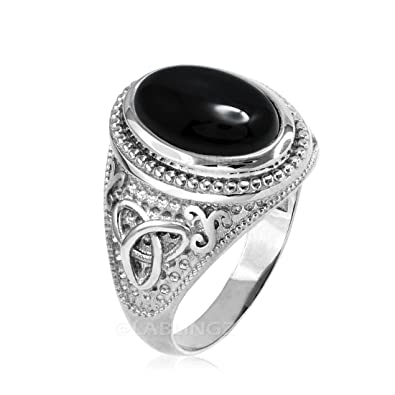 111588bf67fd89 Sterling Silver Celtic Triquetra Band Mens Black Onyx Statement Ring (6)