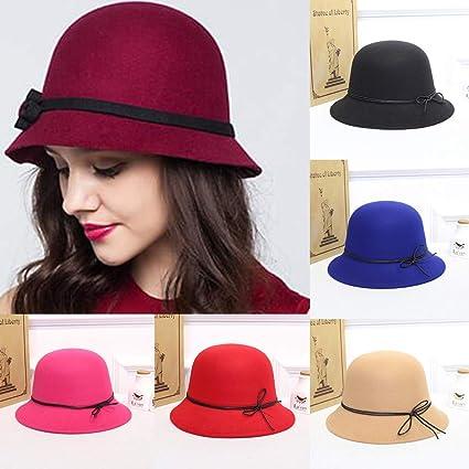 ee83c2c1a2f965 Haluoo Women's Crushable Wool Felt Cloche Hat Fedora Panama Hat Winter  Bowler Hats Ladies Gatsby Church