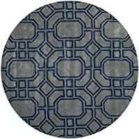 Safavieh Soho Collection SOH414A Handmade Grey and Dark Blue Premium Wool Round Area Rug (6 Diameter)