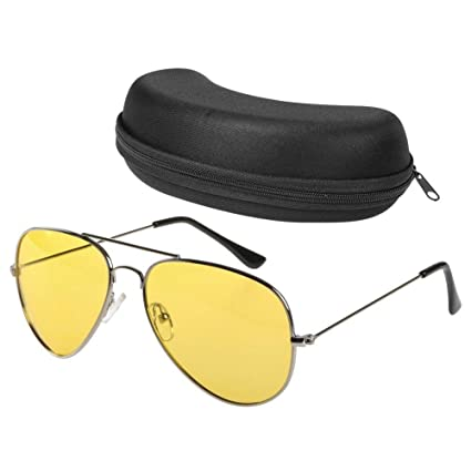 87f69ddbca1 Night Driving Glasses Anti Glare Polarized Aviator Sunglasses for Women  Men