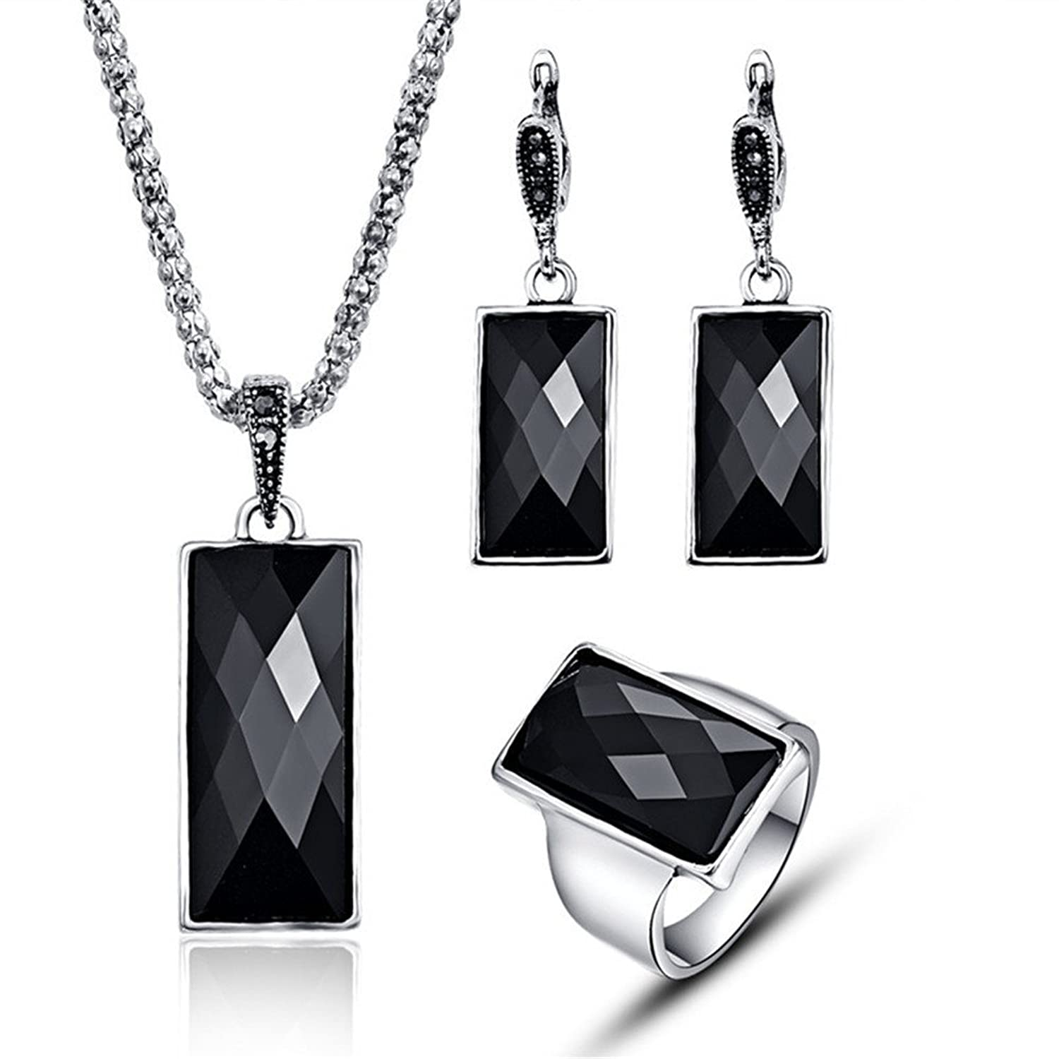 3 PCS Antique Black Simulated Crystal Necklace and Earring Ring Jewelry Set Classical Party Women Fashion Jewelry