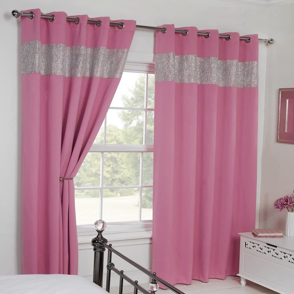 """Carla Diamante Eyelet Ring Top Thermal Blackout Curtains - Pink (66"""" Wide x 54"""" Drop) 66"""" wide x 54"""" drop (168cm x 137cm) Pink"""