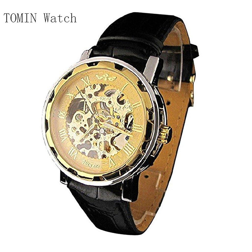 メンズ腕時計、Tominクラシックメンズレザーダイヤルスケルトン機械スポーツArmy腕時計 ゴールド B0722RFRC8ゴールド