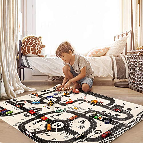 Euone  Car Map, Kids Play Mat City Road Buildings Parking Map Game Scene Map Educational Toys -