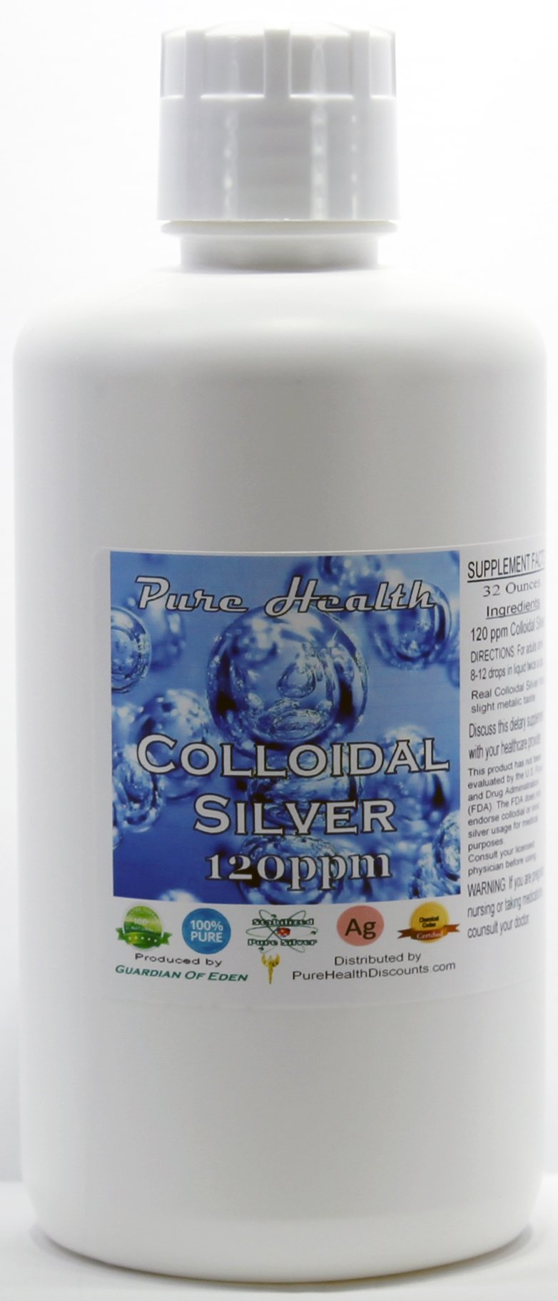 PHP 32 Ounce Concentrated Colloidal Silver 120ppm + Free Filled Dropper Bottle; Shipped Fast. Lab Tested. See pics for Report. by Purehealthdiscounts