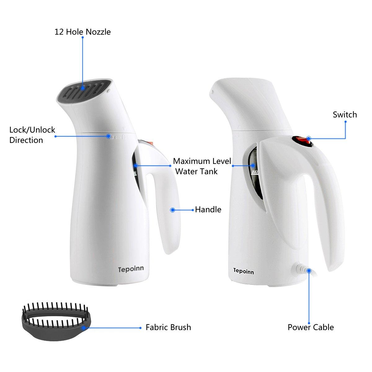 Tepoinn Clothes Steamer for Travel Garment Steamer Portable Fabric Steamer (one gear)