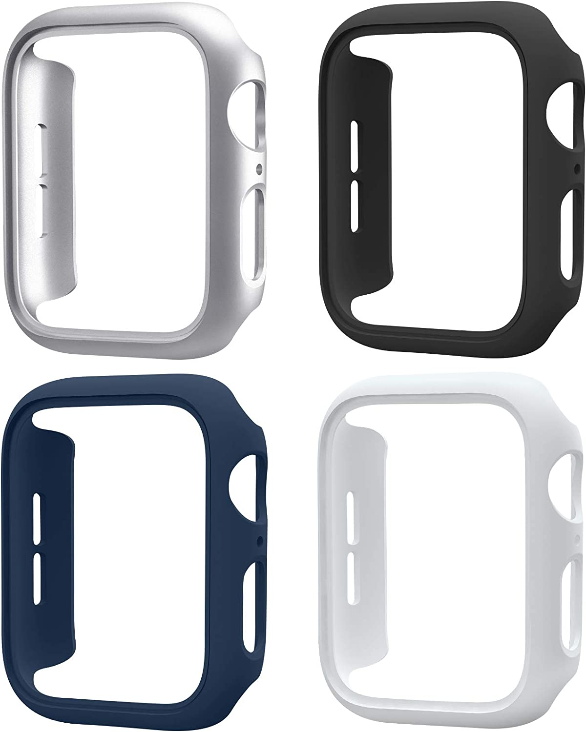 Mugust 4 Pack Compatible for Apple Watch Case 42mm Series 3 2 1, Hard PC Bumper Case Protective Cover Frame Compatible for iWatch 42mm, Silver/White/Black/Navy Blue