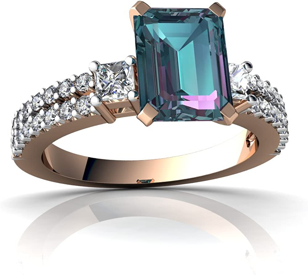 Handcrafted Wedding Ring Birthday Gift 14k Solid Gold Wedding Ring 1CT Emerald Cut Alexandrite Engagement Ring Solitaire Ring For Lover