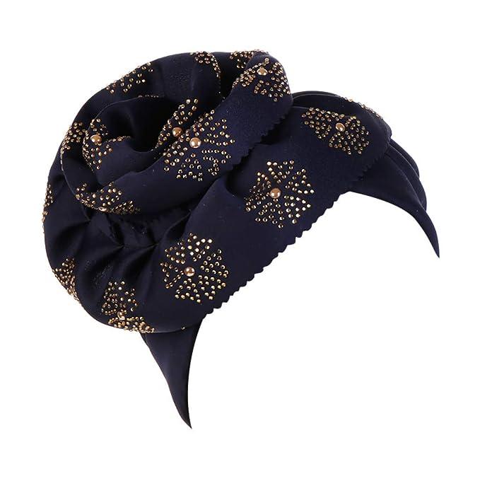 Dwevkeful Turbantes para Mujer Cancer, Decoración Floral SóLido Gorras Pañuelo Bufanda Musulmana Moda Casual para Chemo Oncológico Pèrdida de Pelo Cabello: ...