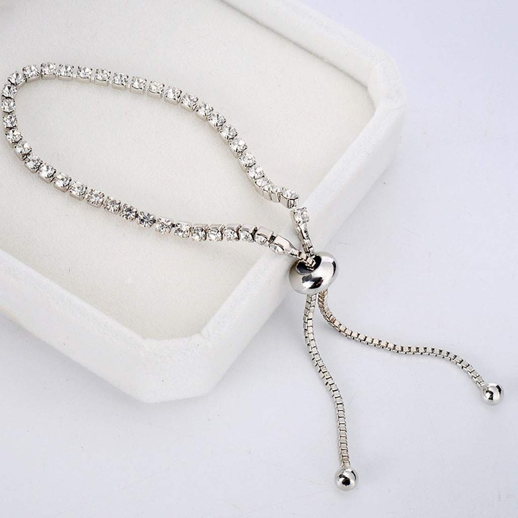 Toponly Jewelry Sets Fashion Popular Sleek Minimalist Diamond Rhinestone Bracelet Earrings Stud by Toponly (Image #4)