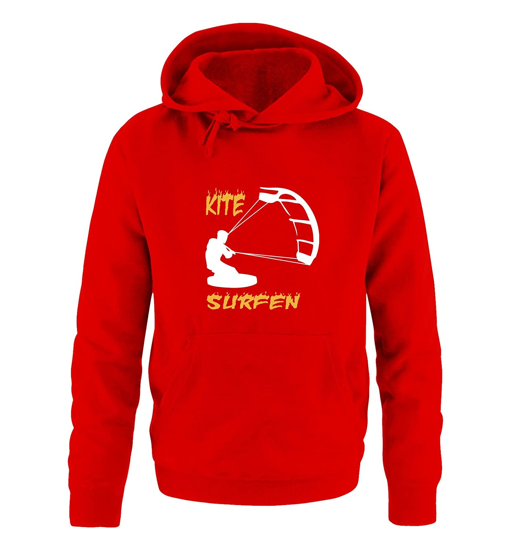 Comedy Shirts Print-Pulli Kapuze Kite Surfen Herren Hoodie Langarm Motiv 3 K/ängurutasche