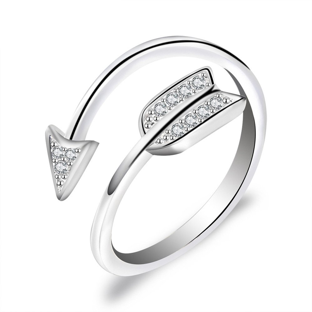 DYbaby Crystal Love Struck Arrow Ring Adjustable Copper Wrapped Ring Free Size Ring Gift for Womens and Girls (Silver)