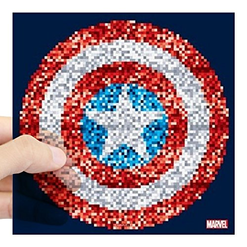 CafePress Captain America Pixel Shiel Square Sticker 3 X 3 Square Bumper Sticker Car Decal, 3