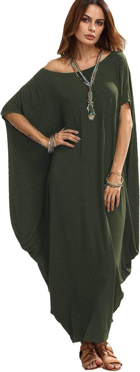 Verdusa Women's One Off Shoulder Caftan Sleeve Harem Maxi Dress