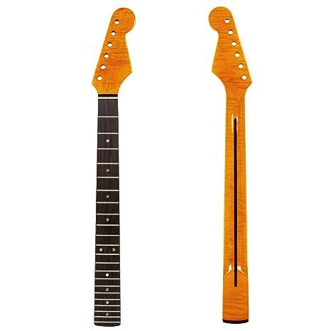 Kmise Cuello de guitarra eléctrica, diapasón de 22 trastes, hecho de madera de arce