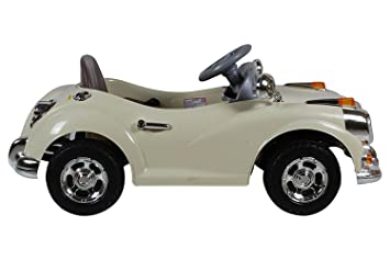 happy kids classic vintage ride on car with remote control beige