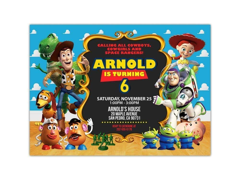 Custom Toy Story Birthday Party Invitations For Kids 10pc 60pc 4x6 Or 5x7 Cards With White Envelopes Printed On Premium 265gsm Card