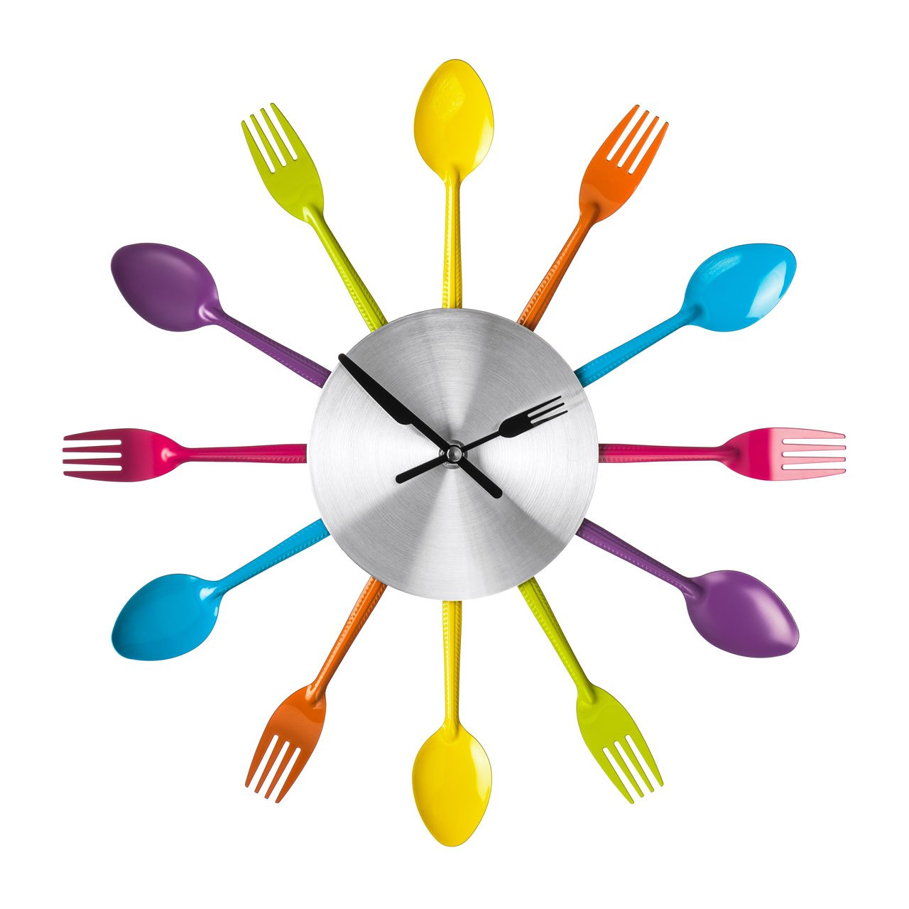 Funky Colours Cutlery Kitchen Utensil Wall Clock Multi Coloured ...