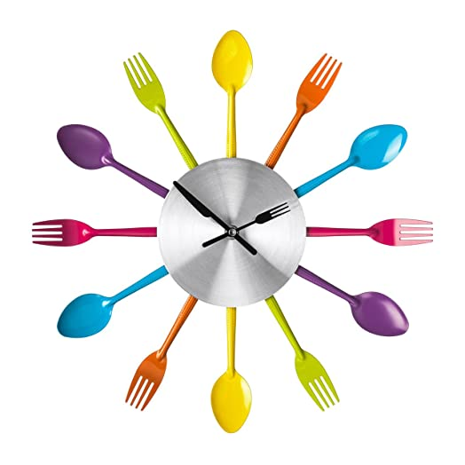 funky colours cutlery kitchen utensil wall clock multi coloured