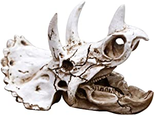 Reptiles-Amphibians Habitat-Hideaway Hideouts Aquarium-Decorations - Dinosaur Imitation Skull Model