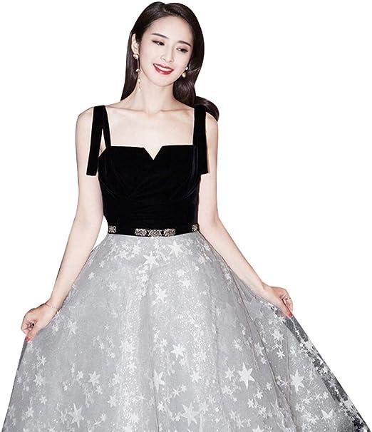 Vestido de Noche para Mujer Blanco y Negro Costura Personalidad ...