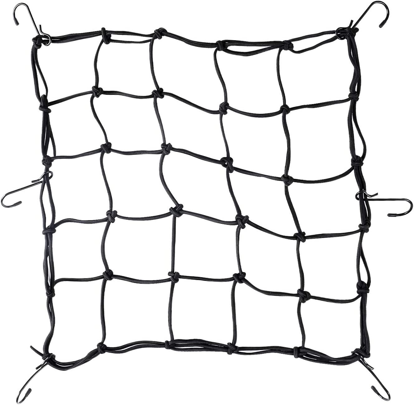 "SunFounder Super Strong Stretch Heavy-Duty 15"" Cargo Net for Motorcycle ATV - Stretches to 45"" with Iron Hooks"