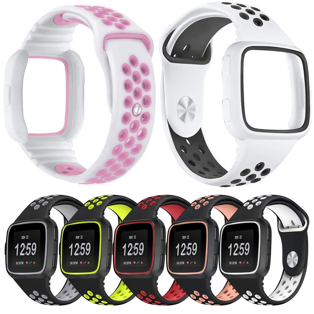 yuemizi Replacement Watch Band Bracelet Soft Silicone Sport Strap+Frame For Fitbit Versa (White) by yuemizi (Image #5)