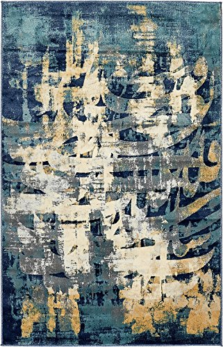 Modern Vintage Design Inspired Overdyed Fancy Rugs ( Navy Blue - 5' x 8'-Feet ) Fashion Collection Area Rug Living and Dinning Room Bedroom Carpet (Rugs And Gold Gray Area)
