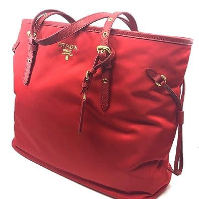 0e6bebae9c78 Amazon.com: Prada Tessuto Saffiano Rosso Red Nylon Shopping Tote Bag  1BG997: Shoes