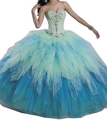 Amazon.com: Engerla Women\'s Sweetheart Beaded Organza Long Debutante ...
