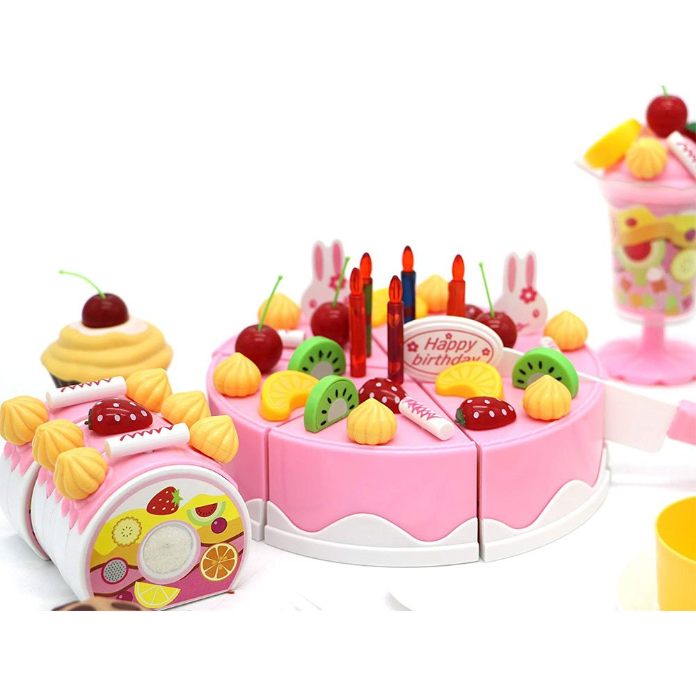 ToysCentral Toy Cake Tea Party Set, 75 Pcs Pretend Food Playset with Birthday Cake, Swiss Role, Ice Cream Sundae, Cookies, Cupcakes, DIY Toppings and Realistic Crockery, Multicolour