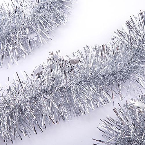 SANNO Christmas Tinsel Garland Snowflake Sparkly Hanging Xmas Christmas Tree Ceiling Decorations Classic Party Ornaments, 3 Pcs 8.2 Ft (2.5M) x 4 inch wide, (Snowflake Christmas Tree)