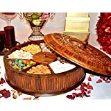 Wooden carved Dry fruits and nuts Big Bowl with lid - Kitchen decor- Kitchen organization- Rosewood carved work