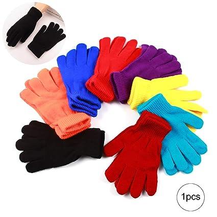 1 par de punto de lana Guante mágico Invierno elástico para adultos y niños  (color f98419e7b50