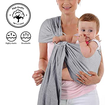 6c818475f01 Amazon.com   4 in 1 Baby Wrap Carrier and Ring Sling - Charcoal Gray ...