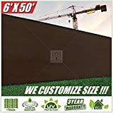 ColourTree 6′ x 50′ Brown Fence Privacy Screen Windscreen, Commercial Grade 170 GSM Heavy Duty, We Make Custom Size